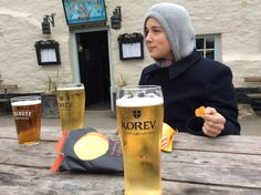 Three of Cornish and a packet of crisps
