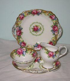 tapestry rose tea set cream sugar
