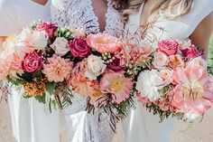 TRISH + ANDREW // #wedding #flowers #pink #white #coral #dahlia #bouquet #bridesmaids #bridal #bride #romantic #rustic