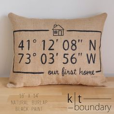 Personalized First Home Map Coordinates Burlap by ktboundary24
