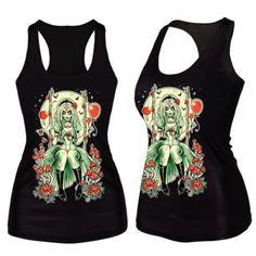 b73849d44dc Women 3D Print Sleeveless Vest Tank Top Strechy Bodycon Blouse Punk Rock T -Shirt