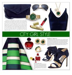 """""""Green and blue!"""" by ceci-alva ❤ liked on Polyvore featuring Ray-Ban, Miss Selfridge, Lanvin, Michael Kors, Jimmy Choo, Anja and Christian Dior"""