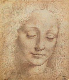 Leonardo da Vinci Female Head - Charcoal, red chalk, white lead on paper. Galleria degli Uffizi