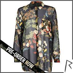 River Island Black floral print bardot top ($18) ❤ liked on