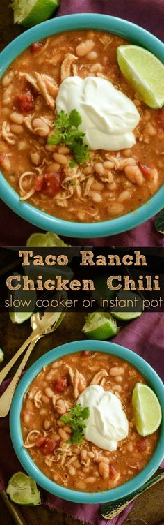 This amazing Taco Ranch Chicken Chili is made with just 5 ingredients in a slow cooker or instant pot! Perfect weeknight dinner!