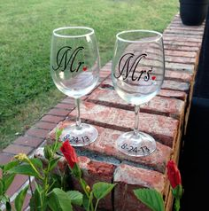 Mr and Mrs Wine Glasses with Personalized Date - Mr and Mrs Glasses on Etsy, $24.00