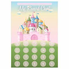 Princess Castle Reward Chart and 35 Matching Stickers - Perfect for girls :) Preschool Reward Chart, Reward Chart Kids, Chore Chart Kids, Preschool Phonics, Kids Rewards, Star Chart For Kids, Charts For Kids, Cardboard Box Crafts, Cardboard Castle