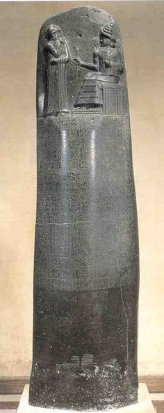 Stele of Hammurabi, c. 1,780 BCE. Note: Early example of foreshortenning technique in the Shamash (sun god) figure to the right