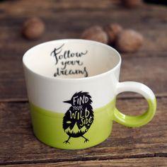 Gift Hostess Mug, Bird Mug, Animal Cup, Hiking Cup, Green Mug, Handpainted Porcelain, Nature Lover Gift, Natural Cup, Ceramic Coffee Mug