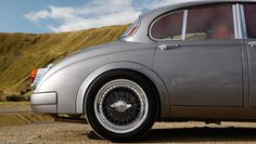 Restored Jaguar Mark 2, redesigned by Ian Callum.   Used modified and uprated 4.3-litre V8 from the Jaguar XK. It sits 30mm lower on 17in split rim spoke wheels.     Carjackd.tv    #carjackdtv