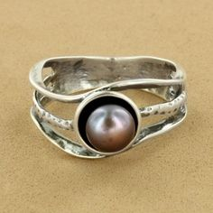 Sterling Silver Black Pearl 6MM Cuttout Freeform Ring. $59.00 #jewelry