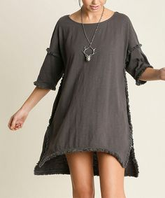 This Charcoal Fringe-Hem Hi-Low Tunic is perfect! #zulilyfinds