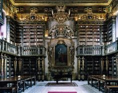 25 of the most beautiful college libraries in the world: The University of Coimbra General Library, Coimbra, Portugal--like a library dreamscape and the inside of a royal jewelry box