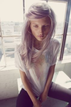 ashy pearl blonde hair dye. This girl looks sooo good with this color hair. I wish I could pull it off.