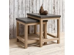 Hudson Living Brooklyn French Oak Nest of 2 Tables with Concrete Resin Tops Furniture, Table Furniture, Nesting Tables, Modern Side Table, Table, Waiting Room Furniture, Side Table Design, Modern Table, Contemporary Side Tables