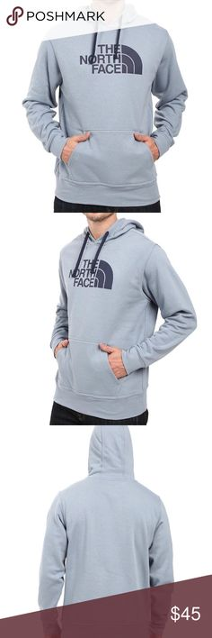 The North Face Men's Half Dome Hoodie BRAND NEW WITH TAGS. SMOKE FREE HOME. The North Face Men's Half Dome Hoodie is a pullover hoodie for everyday wear. Simple design from the front logo to the over-the-head style, the midweight fabric adds the warmth on cool days. A kangaroo pocket to warm your hands or hang onto your phone and a jersey-lined hood for snuggling against. Color is worn blue. The North Face Shirts Sweatshirts & Hoodies