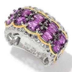 159-141 - Gems en Vogue 2.70ctw Oval Color Shift Garnet Ten-Stone Band Ring