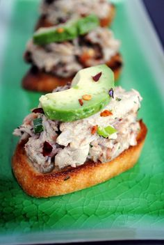 """Crabby Snacks - Crunchy crostini topped with cold crab salad and creamy avocado. Inspired by """"Silver Linings Playbook. Bacon Recipes, Appetizer Recipes, Snack Recipes, Cooking Recipes, Wine Appetizers, Crab Appetizer, Crab Recipes, Savory Snacks, Yummy Appetizers"""