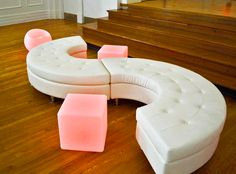 S curve Lounge Furniture with LED color cube