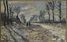 Claude Monet  Route, effet de neige, soleil couchant