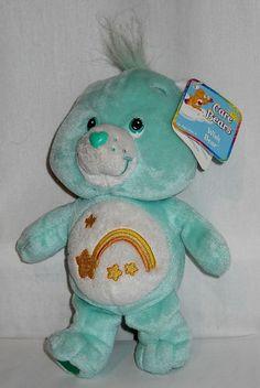 """Care Bear Wish Bear Green 8"""" Tall Hang Tag & Tush Tag 2002 New w/ Tags Condition $15.00"""