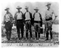 "Texas Rangers, 1915, during the ""Mexican bandit trouble"" spilling over the borders from la revolución mexicana. Shown left to right: John Cordway, Deputy Sheriff; Clint Adkins; Edgar Turcotte, Deputy Sheriff; T. Armstrong; and Charlie Armstrong, Rancher. Courtesy of the Portal to Texas History."