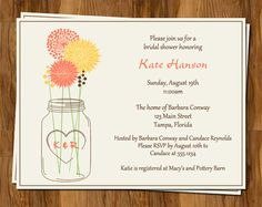 Wedding Shower Invitations, Mason Jar Bridal Invites, Set of 10 Printed with envelopes, FREE shipping