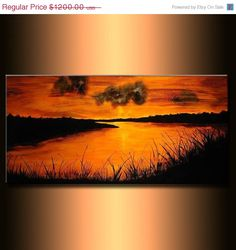 Original landscape Abstract painting by newwaveartgallery on Etsy, $960.00