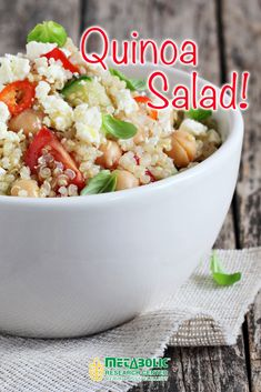 Quinoa with tomatoes, beans, cucumbers, and mint.  #quinoa #salad