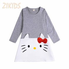5.99$  Watch now - http://alirpn.shopchina.info/go.php?t=32767491334 - Cartoon Lovely Baby Girl Dress Long Sleeve Hello Kitty Cotton Kids Dress for Girls Clothes Children Brand Clothing Sale 2017 5.99$ #magazine