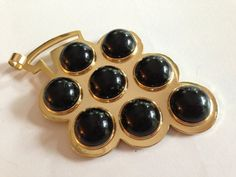 Fabulous Funky Bold Lanvin Paris Gold Tone Pendant Designed with Eight Black Cabochons