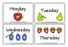 Download free days of the week flashcards, wheel and worksheets based on the book The Very Hungry Caterpillar for preschool, pre-k and kindergarten class.