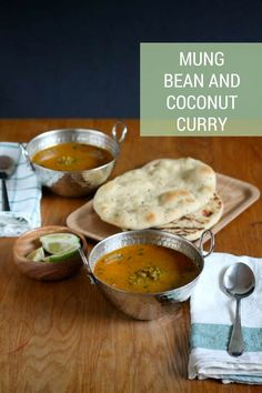 Mung Bean and Coconut Curry - A warm and spicy vegan curry made with mung beans, coconut, and lime. Enjoy as a soup or serve with brown rice or warm naan for a more substantial meal. #recipe #vegan #vegetarian #curry #indian #beans #mungbeans #easy #healthy