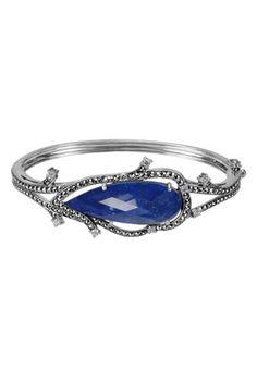 MARC Sterling Silver Lapis Doublet Cubic Zirconia Marcasite Bracelet $225