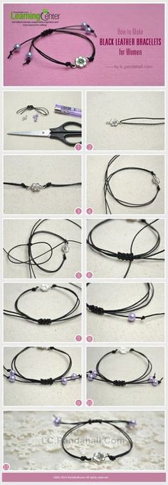 double closure black leather bracelets