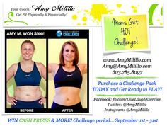 """Moms Get HOT Challenge! School is back in session and it is now time for moms to play! Take some time for yourself everyday! Join my Biggest Loser Challenge... BEACHBODY STYLE! There will be chances to WIN CASH PRIZES & MORE! When is the Challenge period... September 1st - 31st! Like this photo or message me for more details! Ready to go? Signup today at www.AmyMilillo.com and select """"Take The Challenge""""! Privately held Challenge from your own home with full support from me!"""