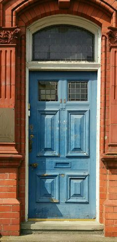 Victorian door, blue, Warrington, England