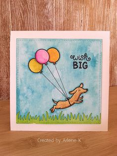 Lawn Fawn Wish Big card by arlene kruse (using Critters at the Dog Park, Birthday Tags, Party Animal for balloons)