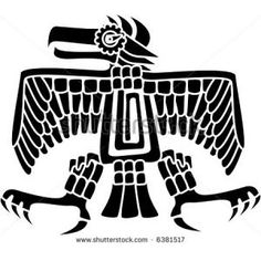 Aztec Eagle -  Aztec or Mayan eagle deity, a symbol of strength, patience and courage. Vector illustration made with clean shapes (no white outlines, transparency between black fill elements)