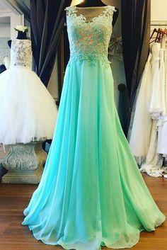 Charming Prom Dress,Appliques Prom Dress,Chiffon Prom Dress,A-Line Prom Dress