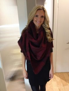Love!  Oversized deep red shawl/cape/scarf