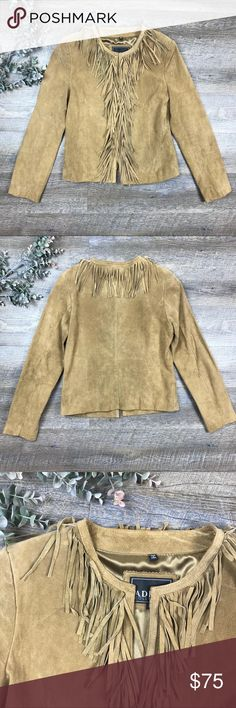 Alder Collection Suede Leather Jacket Adorable Adler Collection suede leather jacket! Fringe detail, hook and clasp. In excellent condition/like new! Shell: 100% genuine leather, lining: 100% polyester. Size S. See images for measurements. K-15 Adler Collection Jackets & Coats