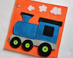 Train Puzzle - Custom Hand-Crafted Quiet Book Page to Create or Expand Your Personalized Quiet Book