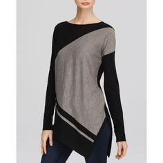 360 Sweater Ros Sweater (215 CAD) ❤ liked on Polyvore featuring tops, sweaters, black knit top, colorblock top, knit sweater, asymmetrical hem top and black top