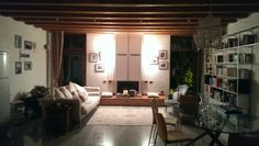 A lovely airbnb by the Adige river, very nice lighting in the living space.