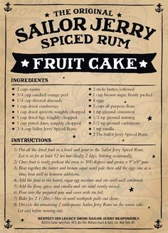 Jesus, why have I never seen this recipe before. One for Xmas I think :) Sailor Jerry Spiced Rum Fruit Cake Rum Fruit Cake, Rum Cake, Fruit Cakes, Rum Recipes, Cake Recipes, Recipies, Christmas Desserts, Christmas Baking, Christmas Cakes