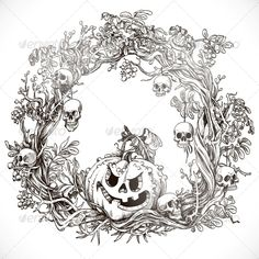 Festive Decorative Halloween Wreath   #GraphicRiver         Festive decorative Halloween wreath graphic drawing     Created: 5October13 GraphicsFilesIncluded: JPGImage #VectorEPS Layered: No MinimumAdobeCSVersion: CS Tags: autumn #bag #bones #dead #death #decor #fear #full #garland #glowing #graphic #gum #holiday #horror #jack #object #orange #round #rowan #scary #season #skull #sweet #teeth #terror #thorns #vector #vines #wreath #yellow