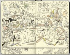 Mattias Adolfsson sketches. amazing how much he can fit on two pages! Click to see more.