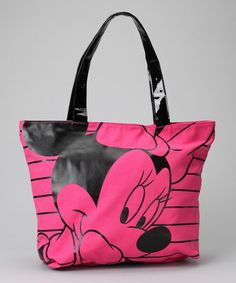Take a look at this Pink & Black Minnie Mouse Tote by Disney on #zulily today!
