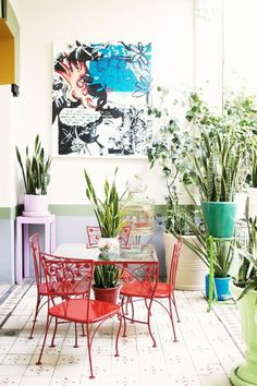 Love this colorful sunny room with plants